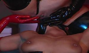 Latex lesbians enjoying some pussy licking